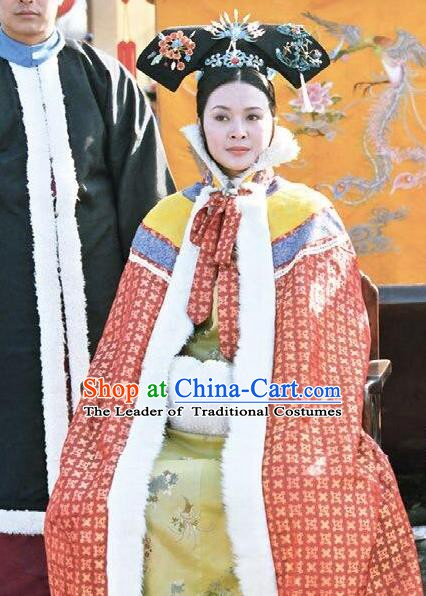 Chinese Ancient Qing Dynasty Historical Costume Empress Dowager Cian Embroidered Dress for Women