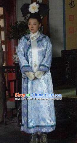 Chinese Ancient Qing Dynasty Manchu Historical Costume Queen Mother Ci Xi Embroidered Dress for Women