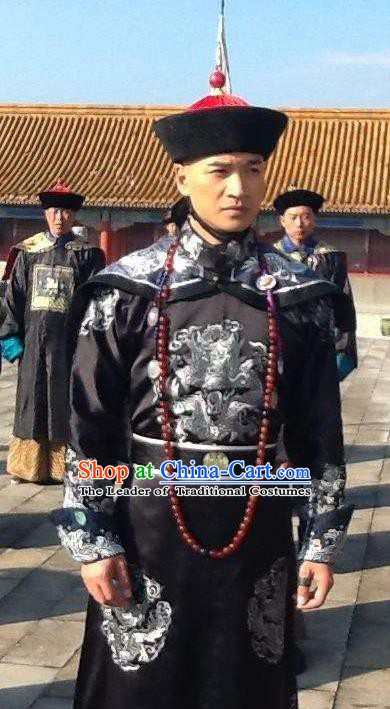 Chinese Ancient Qing Dynasty Royal Highness Yong Gwanbok Historical Costume Manchu Prince Clothing for Men