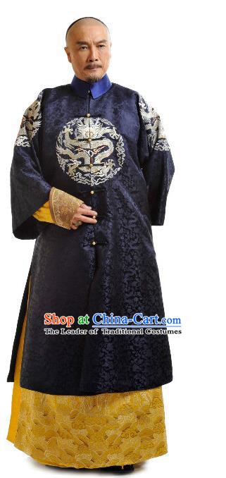 Chinese Qing Dynasty Emperor Kangxi Xuanye Court Historical Costume Ancient Manchu Kaiser Clothing for Men