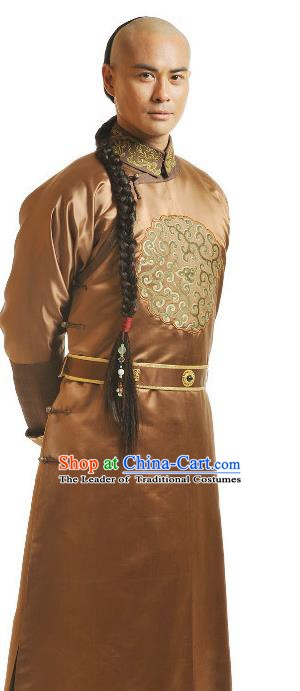 Chinese Qing Dynasty Eight Prince of Kangxi Historical Costume Ancient Manchu Royal Highness Clothing for Men
