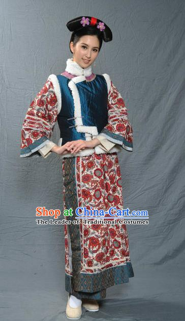 Chinese Qing Dynasty Manchu Court Maid of Kangxi Historical Costume Ancient Palace Lady Clothing for Women