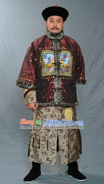 Chinese Qing Dynasty General Historical Costume Ancient Manchu Royal Prince Clothing for Men
