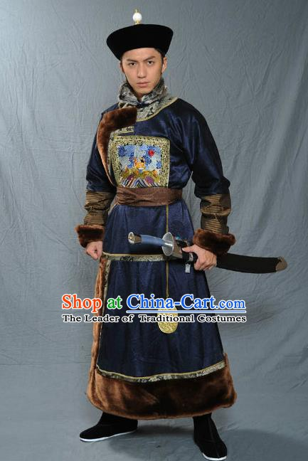 Chinese Qing Dynasty Warrior Baturu Historical Costume Ancient Manchu General Clothing for Men