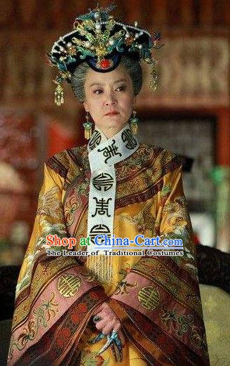 Chinese Ancient Qing Dynasty Empress Dowager of Qianlong Manchu Dress Historical Costume for Women