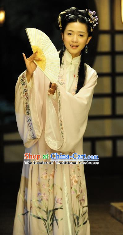Chinese Ancient Qing Dynasty Courtesan Liu Rushi Dress Historical Costume for Women
