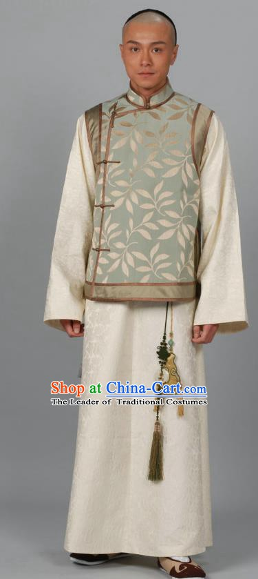 Chinese Qing Dynasty Prince Historical Costume Ancient Manchu Nobility Childe Clothing for Men
