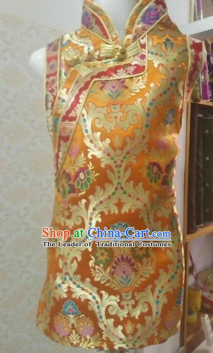Chinese Tibetan Nationality Costume Yellow Vests, Traditional Zang Ethnic Minority Waistcoat for Women