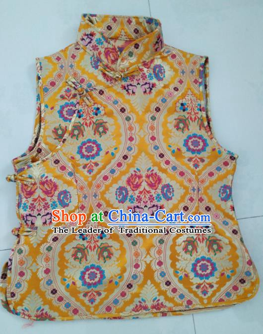 Chinese Tibetan Nationality Costume Golden Vest, Traditional Zang Ethnic Minority Waistcoat Clothing for Women