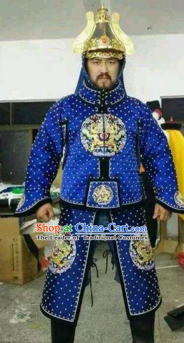 Chinese Late Qing Dynasty Armour Replica Costumes Ancient General Deng Shichang Historical Costume for Men