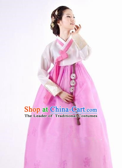 Korean Traditional Bride Hanbok Clothing White Blouse and Pink Skirt Korean Fashion Apparel Costumes for Women
