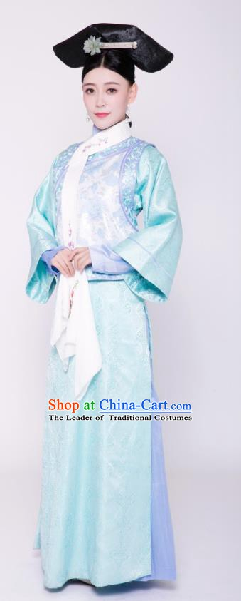Chinese Ancient Qing Dynasty Courtmaid Palace Lady Embroidered Replica Costumes for Women