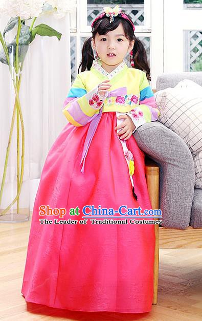 Korean Traditional Hanbok Korea Children Red Dress Fashion Apparel Hanbok Costumes for Kids
