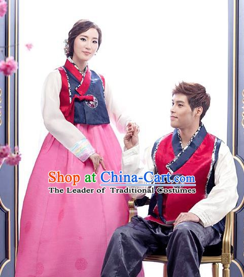 Korean Traditional Garment Palace Wedding Hanbok Fashion Apparel Bride and Bridegroom Costumes Complete Set