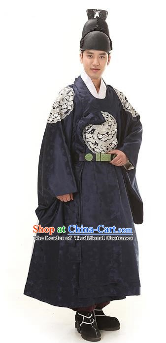 Asian Korean Traditional Hanbok Clothing Ancient Korean Emperor Costume Navy Robe for Men