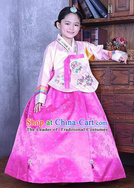 Korean Traditional Hanbok Korea Children Embroidered Pink Blouse and Dress Fashion Apparel Hanbok Costumes for Kids