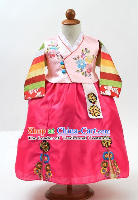 Korean Traditional Hanbok Korea Children Pink Blouse and Rosy Dress Fashion Apparel Hanbok Costumes for Kids