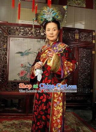 Chinese Ancient Manchu Palace Dress Qing Dynasty Empress Dowager Xiaozhuang Costume for Women