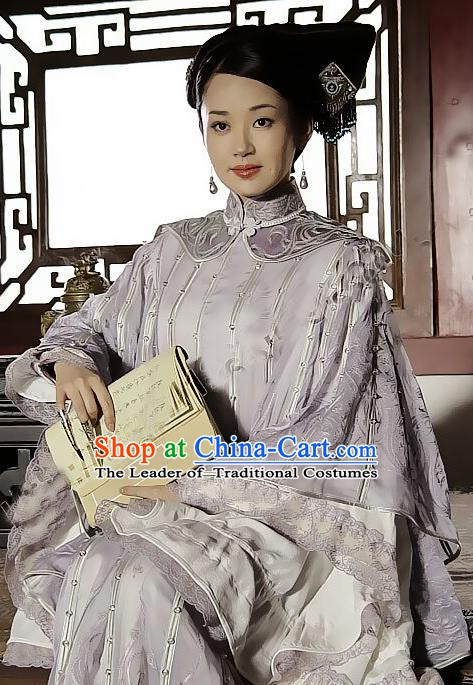 Chinese Ancient Empress Dowager Xiaozhuang Dress Qing Dynasty Manchu Palace Lady Embroidered Costume for Women