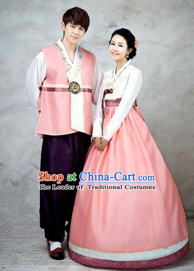 Asian Korean Palace Hanbok Ancient Traditional Wedding Bride and Bridegroom Costumes Complete Set