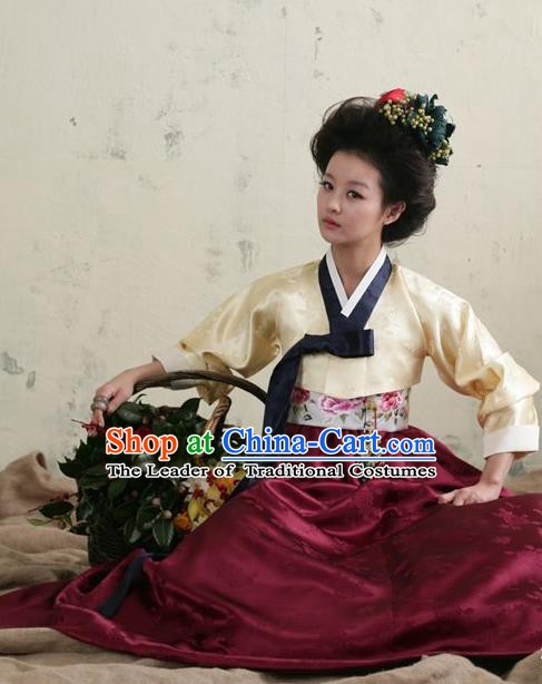 Top Grade Korean Hanbok Traditional Beige Blouse and Wine Red Dress Fashion Apparel Costumes for Women
