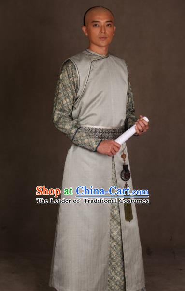 Chinese Ancient Qing Dynasty Manchu Mandarin Long Robe Prince of Qianlong Costume for Men