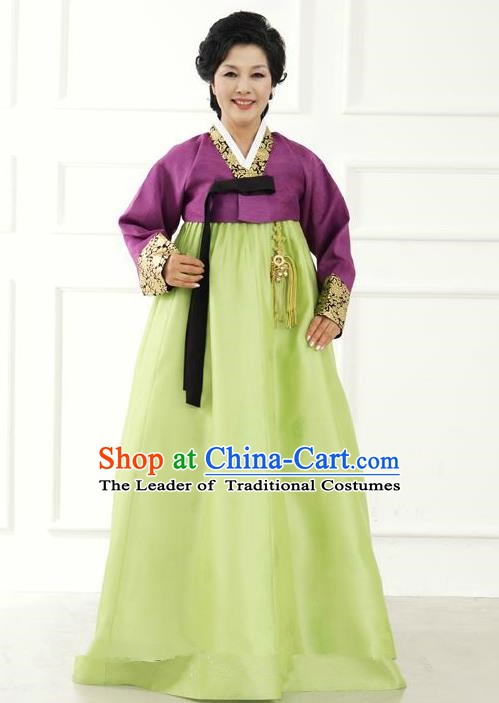 Top Grade Korean Hanbok Traditional Hostess Purple Blouse and Green Dress Fashion Apparel Costumes for Women