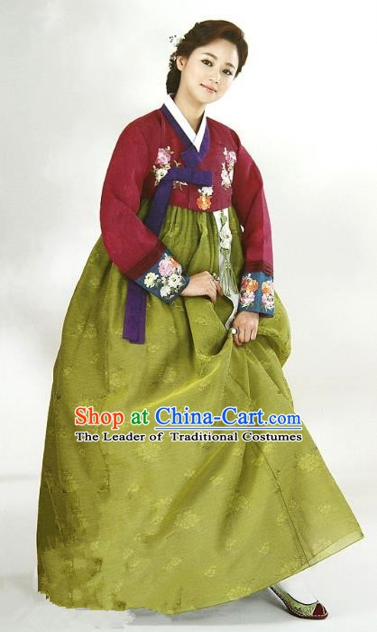 Top Grade Korean Traditional Hanbok Wine Red Blouse and Green Dress Fashion Apparel Costumes for Women