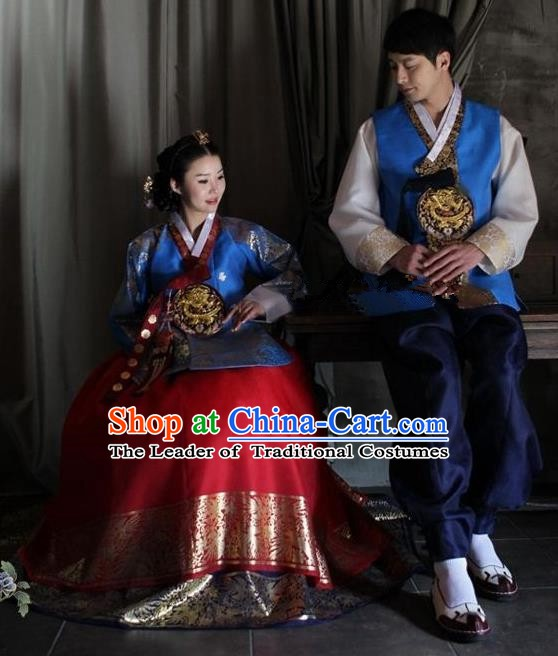 Asian Korean Palace Traditional Wedding Embroidered Hanbok Ancient Korean Bride and Bridegroom Costumes Complete Set