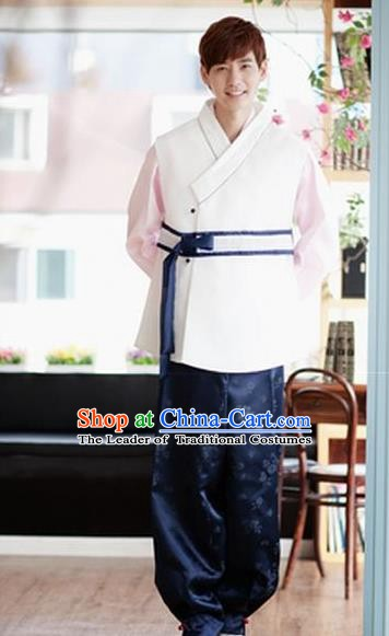 Asian Korean Palace Traditional Wedding Embroidered Hanbok Ancient Bridegroom Costumes for Men