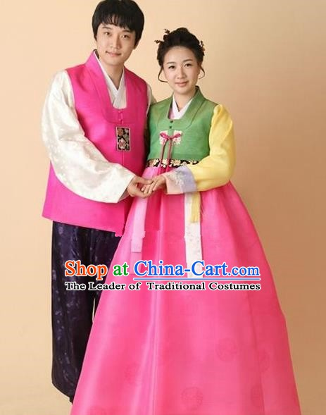 Asian Korean Wedding Couple Hanbok Ancient Palace Bride and Bridegroom Traditional Costumes