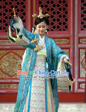 Chinese Ancient Ming Dynasty Wanli Empress Dowager Li Embroidered Dress Costume for Women