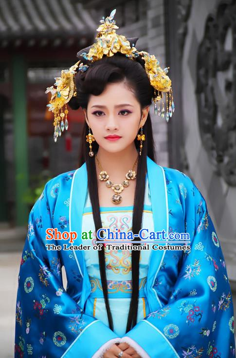 Chinese Ancient Ming Dynasty Imperial Consort Embroidered Dress Costume and Headpiece Complete Set for Women