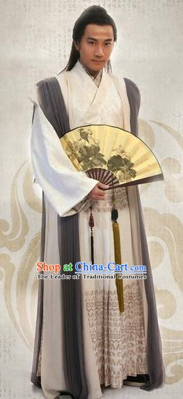 Traditional Chinese Ming Dynasty Ancient Gifted Scholar Artist Tang Bohu Costume for Men