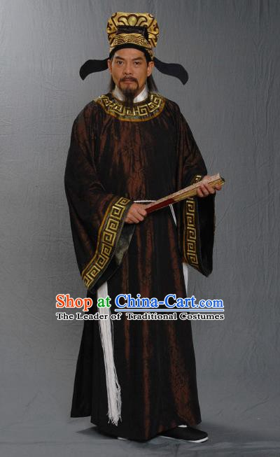 Traditional Chinese Ming Dynasty Ancient Calligrapher and Painter Wen Zhengming Costume for Men