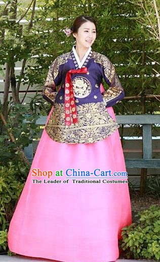 Top Grade Korean Palace Hanbok Traditional Purple Blouse and Pink Dress Fashion Apparel Costumes for Women