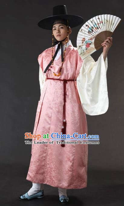 Asian Korean Traditional Costume Ancient Nobility Childe Bridegroom Pink Hanbok for Men