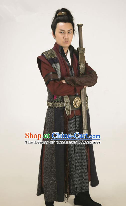 Chinese Traditional Tang Dynasty Swordsman Costume Ancient Knight-Errant Clothing for Men