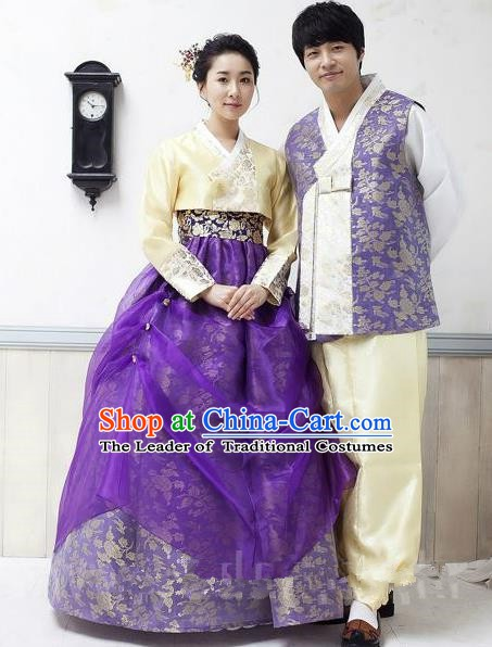 Asian Korean Traditional Wedding Purple Costumes Palace Hanbok Ancient Korean Bride and Bridegroom Costumes Complete Set