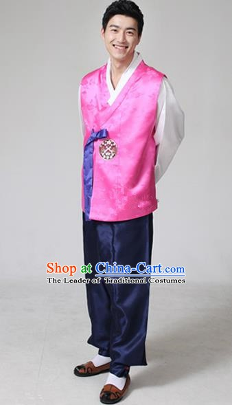 Asian Korean Traditional Costumes Ancient Korean Hanbok Bridegroom Rosy Vest and Navy Pants for Men