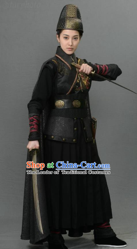 Ancient Chinese Ming Dynasty Swordswoman Dress Detective Historical Costume for Women