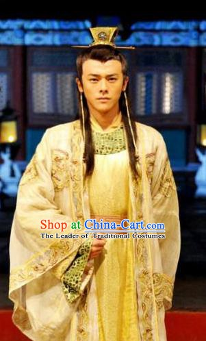 Ancient Chinese Ming Dynasty Majesty Emperor Zhu Youjian Embroidered Costume for Men