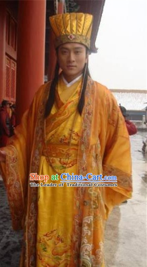 Chinese Ancient Song Dynasty Imperial Robe Emperor Renzong Zhao Zhen Replica Costume for Men
