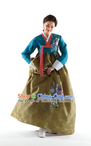 Korean Traditional Bride Hanbok Peacock Blue Blouse and Ginger Embroidered Dress Ancient Formal Occasions Fashion Apparel Costumes for Women