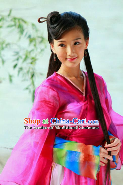 Ancient Chinese Song Dynasty Swordswoman Rosy Hanfu Dress Chivalrous Woman Replica Costume