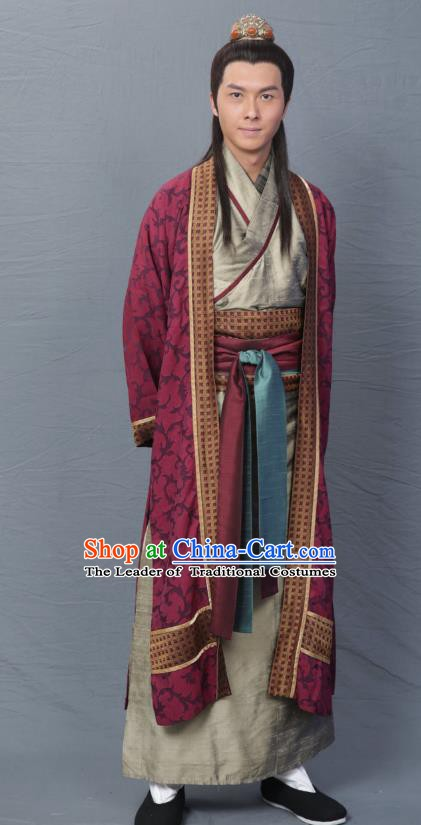 Chinese Song Dynasty Poet Qin Shaoyou Clothing Ancient Scholar Litterateur Replica Costume for Men