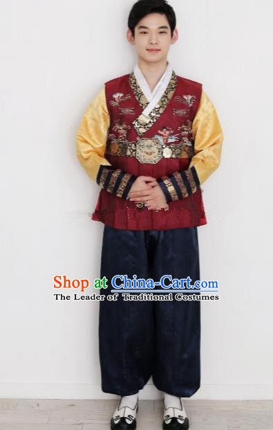 Traditional Korean Costumes Ancient Korean Bridegroom Hanbok Wine Red Vest and Navy Pants for Men