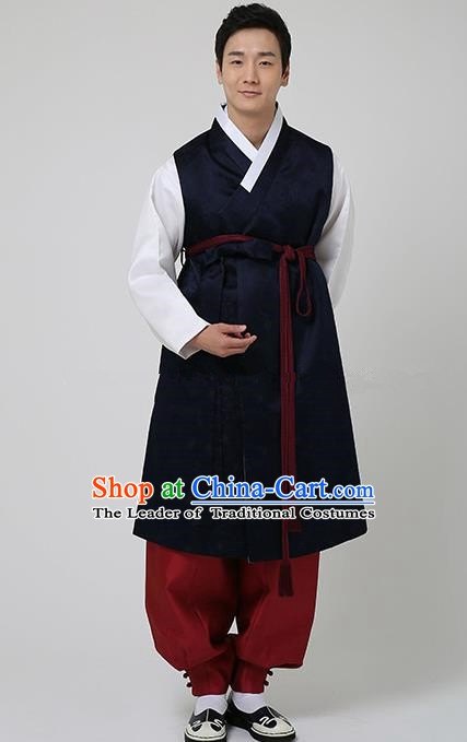Traditional Korean Costumes Ancient Korean Bridegroom Hanbok Navy Vest and Red Pants for Men