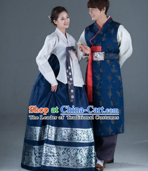 Traditional Korean Navy Costumes Ancient Korean Bride and Bridegroom Hanbok Complete Set