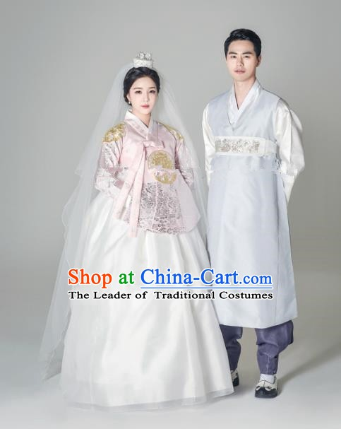 Traditional Korean Palace Costumes Ancient Korean Bride and Bridegroom Wedding Hanbok Complete Set